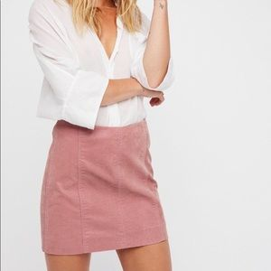Free People faux suede pink mini skirt